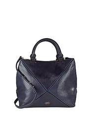Vince Camuto Peacoat Fur And Leather Satchel Black