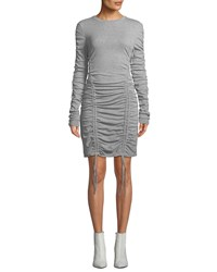 Kendall Kylie Ruched Crewneck Long Sleeve Dress Gray