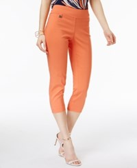 Alfani Petite Tummy Control Pull On Capri Pants Only At Macy's Brushed Coral