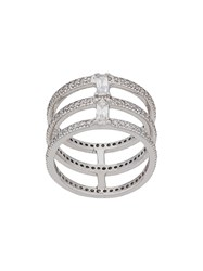 V Jewellery Triple Spine Ring Silver
