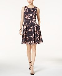 Nine West Floral Print Scuba Fit And Flare Dress Cameo Multi