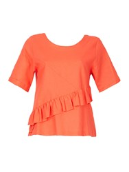 Feverfish Linen Frill Top Coral