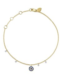 Meira T 14K White And Yellow Gold Sapphire And Diamond Evil Eye Ankle Bracelet Blue White