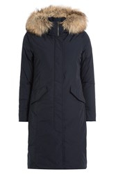 Woolrich Luxury Long Down Parka With Fur Trimmed Hood Blue