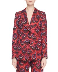 Dries Van Noten Single Breasted Two Button Peacock Jacquard Blazer Red