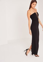 Missguided Bandeau Plunge Crepe Maxi Dress Black Black
