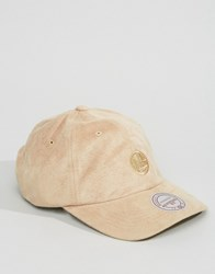 Mitchell And Ness Adjustable Cap Golden State Warriors In Micro Suede Beige
