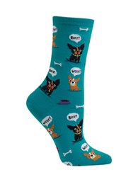 Hot Sox Dog Printed Cotton Blend Socks Turquoise