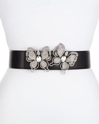 Deborah Drattell Butterflies Leather Belt Silver