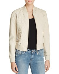 Joe's Jeans Quilted Leather Bomber Jacket Ecru
