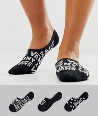 Vans 3 Pack Glow Up Canoodle No Show Socks In Black