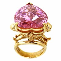 Metal Couture Large Pink Candy Angels And Heart Ring Gold