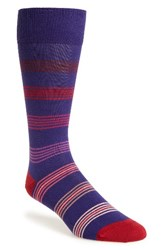 Paul Smith Men's Tonal Ladder Stripe Socks Purple