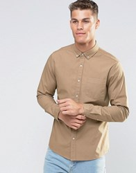 Asos Laundered Twill Shirt In Camel With Long Sleeves Camel Tan