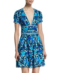 Naeem Khan Short Sleeve Floral Print Open Back Dress Blue Green Multi Blue Green Multi