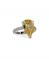 Fantasia Large Pear Cut Canary Crystal Ring Yellow