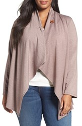Bobeau Plus Size Women's One Button Fleece Cardigan H Mocha