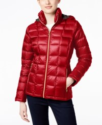 Michael Kors Petite Hooded Packable Down Puffer Coat With Side Diamond Quilting Only At Macy's Red