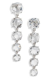 Anzie White Topaz Linear Earrings