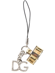 Dolce And Gabbana Logo Charm Keyring Metallic
