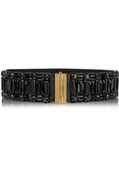 Marni Crystal Embellished Leather And Elastic Waist Belt