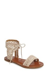 Lucky Brand Women's Ariah Ankle Tie Sandal Natural Fabric