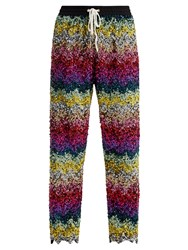 Ashish Striped Sequin Embellished Cotton Track Pants Multi