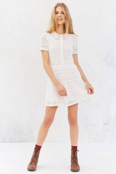 Cooperative Collared Crochet Shirt Dress Ivory