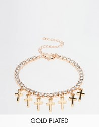 Johnny Loves Rosie Rhinestone Bracelet With Cross Charms Gold