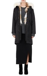 Army By Yves Salomon Women's Fur Lined Hooded Anorak Black