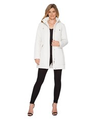Ivanka Trump Oversized Pocket Hooded Quilted Coat Pearl White