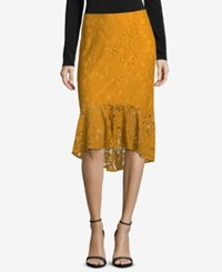 Eci Lace Ruffled Pencil Skirt Mustard
