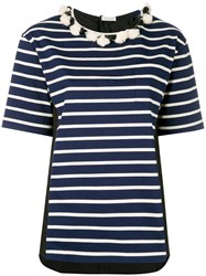 Moncler Striped Short Sleeve T Shirt Women Cotton L Blue