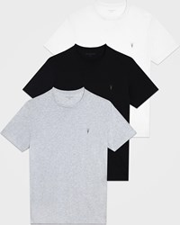 Allsaints White Black And Grey Cotton Slim Fit Tonic Pack Of 3 Crew T Shirts Size Xs Optic Black Grey