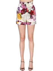 Dolce And Gabbana Floral Printed Cotton Poplin Shorts Multicolor