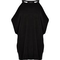 River Island Womens Black Knit Cold Shoulder Batwing Top