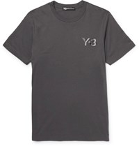 Y 3 Slim Fit Printed Cotton Jersey T Shirt Gray