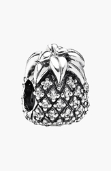 Pandora Design 'Sparkling' Pineapple Bead Charm Sterling Silver Clear Cz