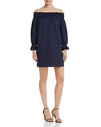 Aqua Off The Shoulder Poplin Dress 100 Exclusive Navy
