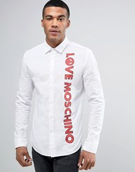 Love Moschino Shirt With Logo Print In Slim Fit White