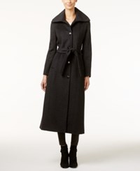Calvin Klein Wool Blend Maxi Trench Coat Charcoal