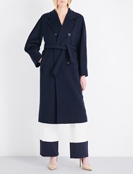 Max Mara Madame Double Breasted Wool And Cashmere Blend Coat Navy