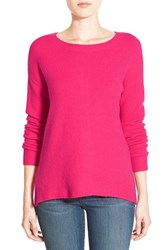 Petite Women's Caslon Back Zip High Low Sweater Pink Bright