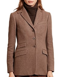 Ralph Lauren Wool Blend Herringbone Blazer Brown Tan