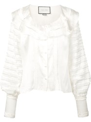 Alexis Paneled Ruffle Blouse White