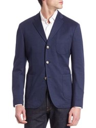 Sand Three Button Notched Blazer Navy