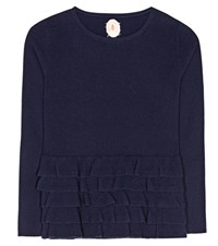 Jardin Des Orangers Ruffled Virgin Wool And Cashmere Sweater Blue