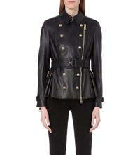 Burberry Pleated Leather Biker Jacket Ink