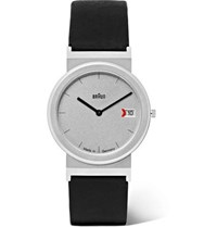 Braun Aw 50 Brushed Stainless Steel And Leather Watch Black