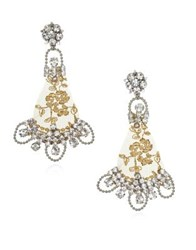 Badgley Mischka 3Mm Beige Pearl And Crystal Ivy Lace Earrings Silver